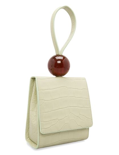 Ball Bag Sage Green Croco Embossed Leather
