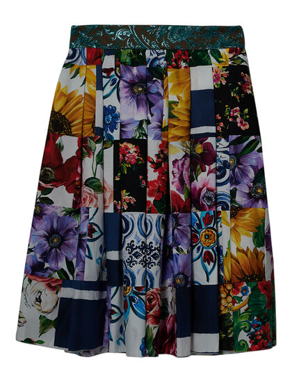 Patchwork Floral-Print Skirt