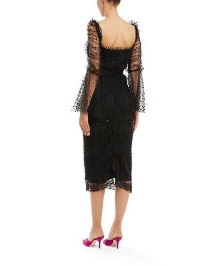 Dot Mesh Midi Dress