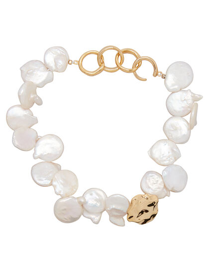 Gold Plated Statement Pearl Ankle Bracelet