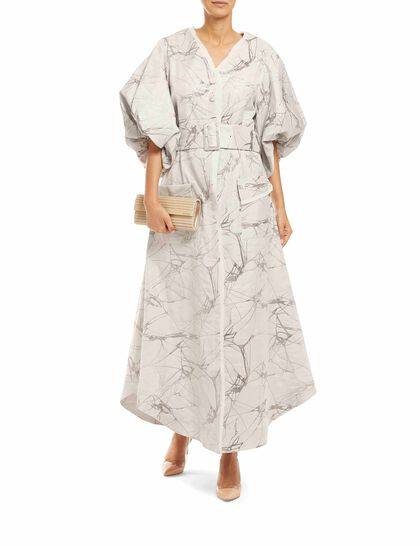 V-Neckline Button-Down Dress Made Of Signature Jacquard Fabric, Exclusive To Baruni