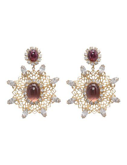 Kjy 2.5 Antique Gold/Crystal Filigree Drop Pierced Earring W/ Flaw Amethyst Cabochons Center