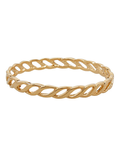 Links Bracelets Polished Gold Twisted Link Bangle