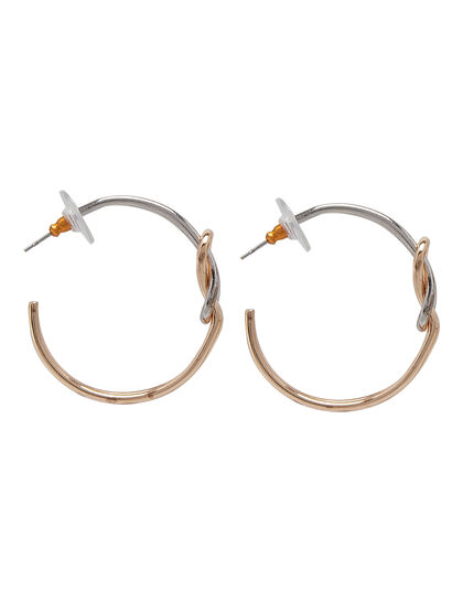 Kjy Gold And Silver Knotted Hoop Post Earring