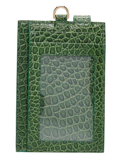 Id Card Holder In Croc Effect In Black