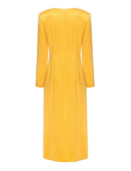 Buttondown Silky Dress Yellow Button-Down Cupro Dress In A Flattering Slim-Fit Silhouette