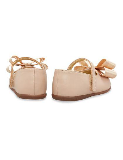 Satin Bow Embellished Leather Ballerinas