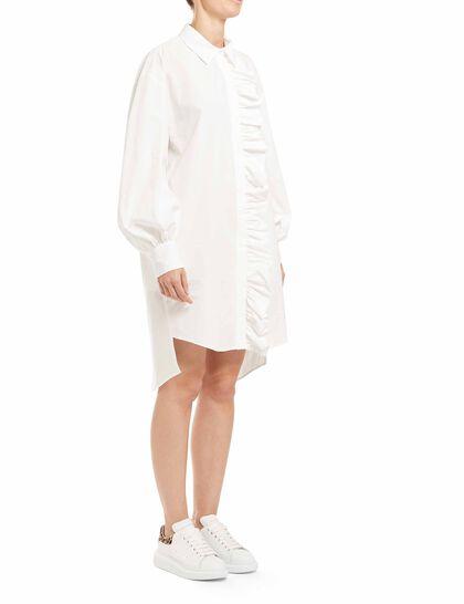 Poplin Ruffle Shirt Dress
