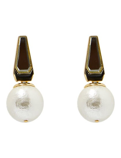Demi Goddess Mirror And Mother Of Pearl Stud Earrings