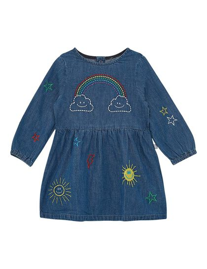 Weather Embroidered Chambray Dress