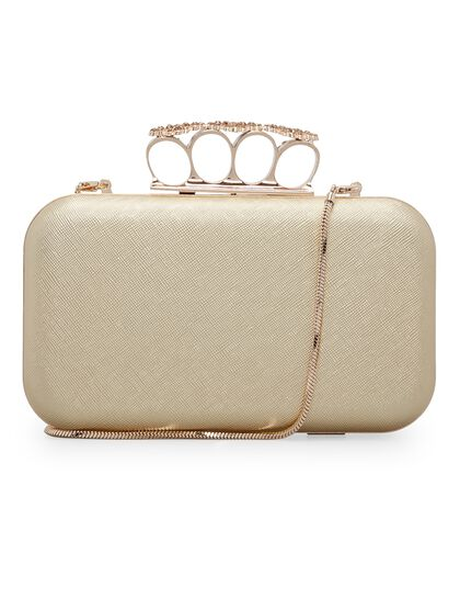 Florence Genuine Saffiano Leather & Crystal Embellished Clasp Clutch