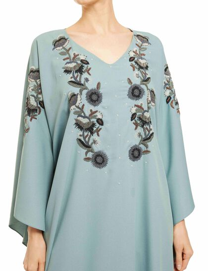 V-Neck, Floral Embroidery On The Front And Sleeves, Batwing Sleeves