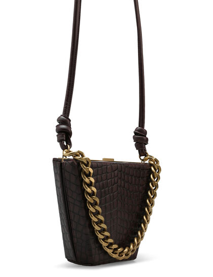 Boxy Croc-Embossed Bucket Bag