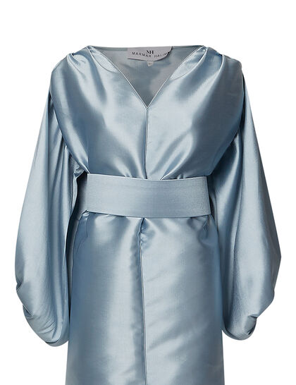 Blue Gray Kaftan With Buffy Sleeves And Belt