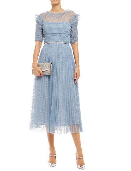 Dot Mesh Trim Midi Dress