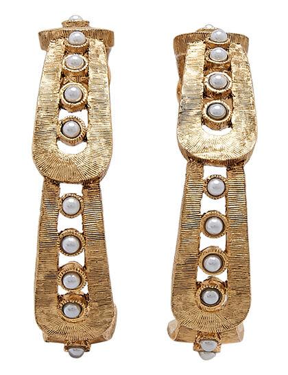 Kjy 1.5x1.5 Gold W/ Pearl Dots Pierced Hoop Earring