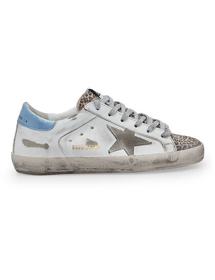 Super-Star Net And Leather Upper Suede Star Leather Heel