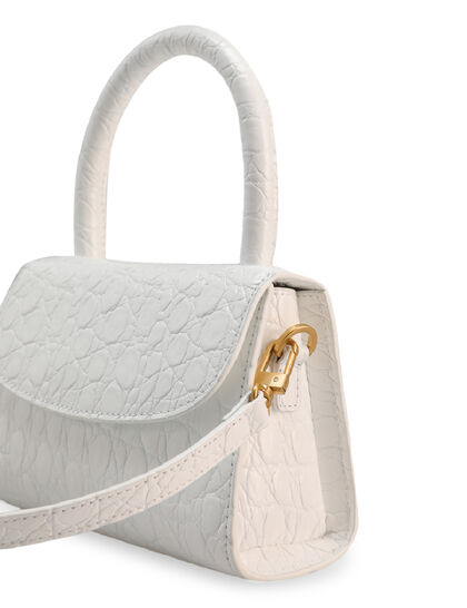 Mini Circular Croco-Embossed Tote