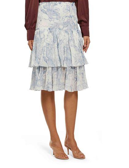 Illustration-Print Midi Skirt