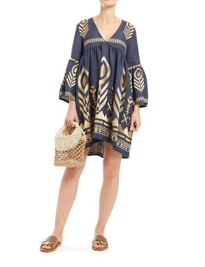 Short Dress 100% Linen, Embroidery Thread/ 100% Polyester