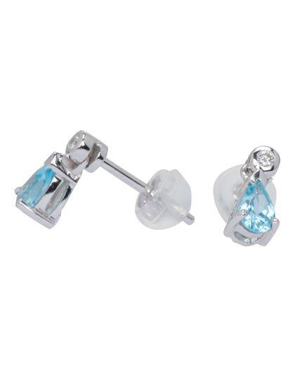 Earring Diamond - Blue Topaz With Diamond Earrin 1.15