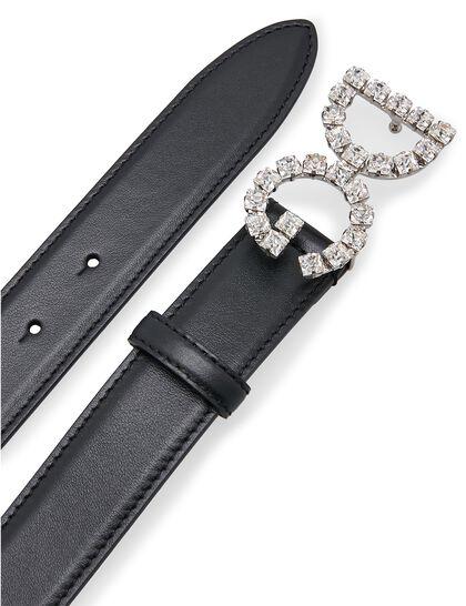 Calfskin Belt with DG Crystal Logo - Black