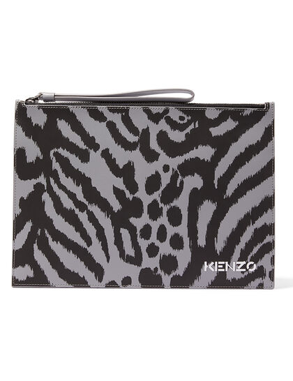 Printed Leather Large Clutch