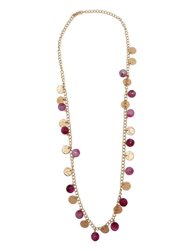 Kjy 36 Gold Chain Cherry Agate Bead/Satin Gold Coin Neck