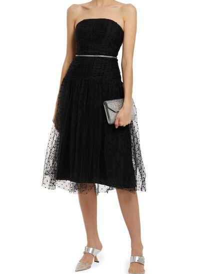 Strapless Dot Mesh Midi Dress
