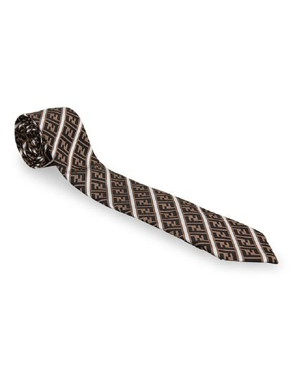 Logo White Stripes Necktie - Brown