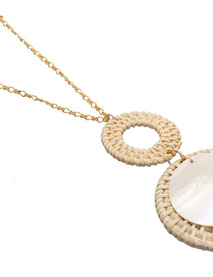 Kjy 30gold Chain S Hook Necklace W/ 4ivory Rattan And Shell Pendant