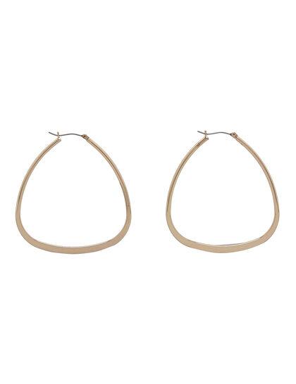Kjy Polished Gold Triangular Hoop Post Earring