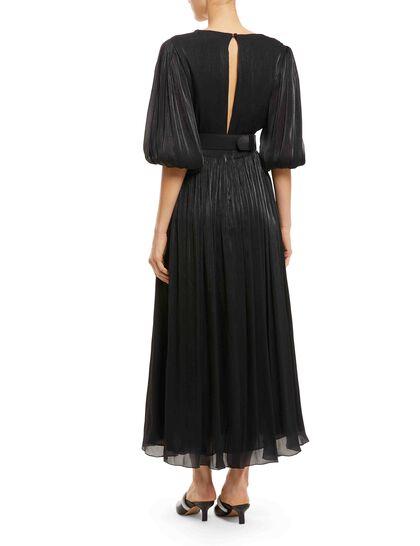 Brennie belted metallic plissé-georgette maxi dress