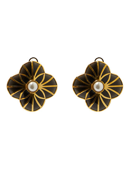 Infinite Petals Black Resin Stud