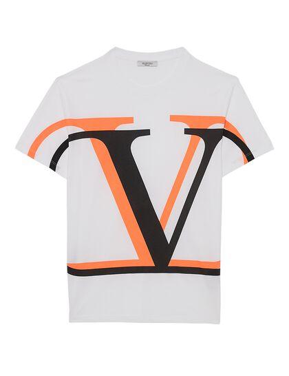 Tshirt V Logo Orange Fluo