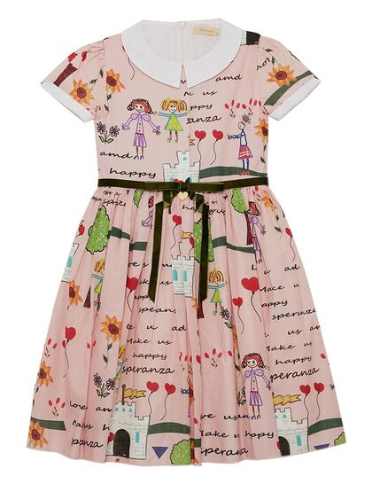 Pink Printed Speranza Girl Dress