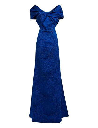 Off The Shoulder Brocade Gown