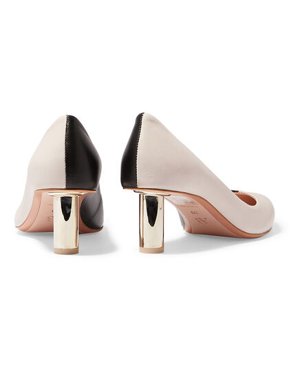Annavy 22904 - Natur Black /Kiss Pointed Pump On Cylindrical Laminate Heel