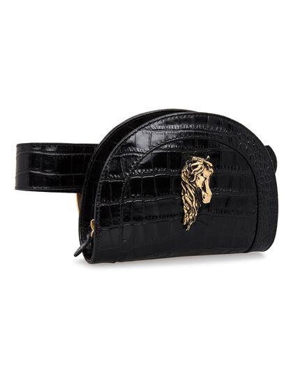 The Lucky Belt Bag Black Croco Gold