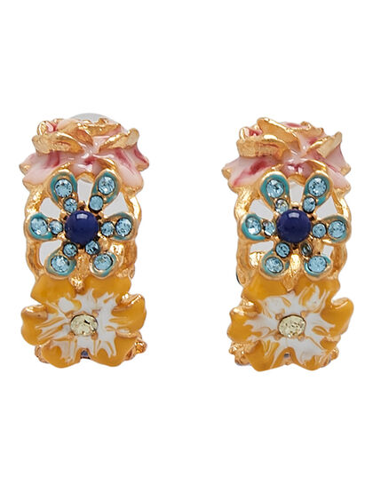 Kjy Gold/Multipastel Flower Hoop Pierced Ear