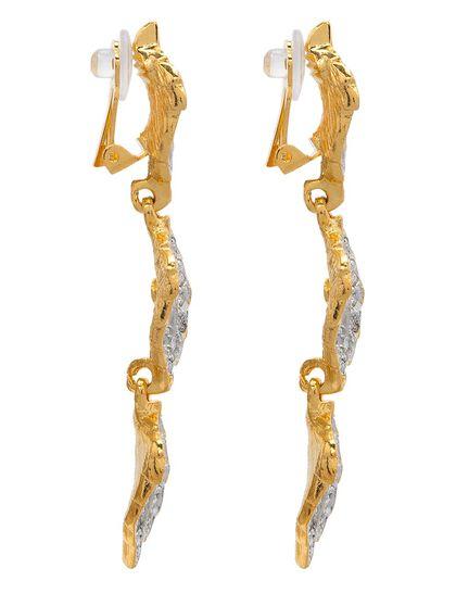 """3"""" Drop Gold T.T Rhine W/ 3 Leaves Clip Earring"""