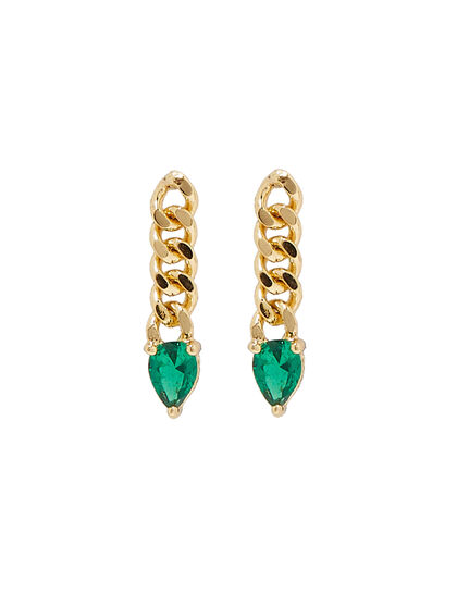 Chain-link Emerald Earrings