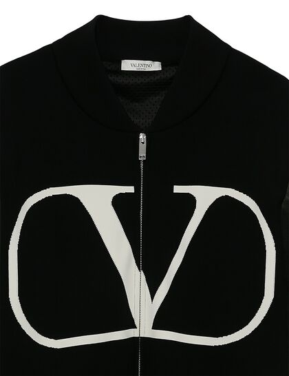 V Logo Leather Arms Jacket