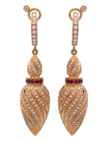 Gfa Merwad Gafla Merwad Gafla Earrings. Full Diamond Pave And Ruby