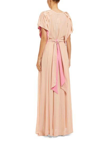 Long Shirt-Dress Made Of Soft Georgette Fabric With Raw Frill Details At The Sleeves