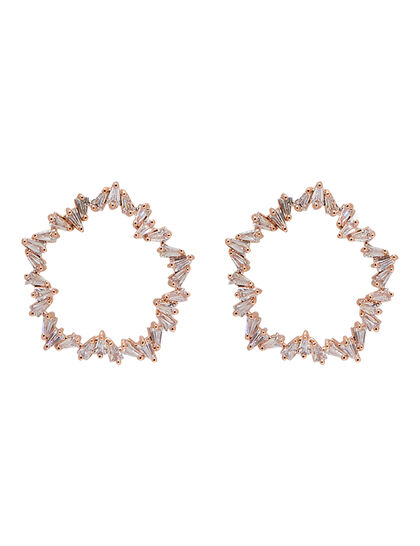 Rose Gold Stone Hoops