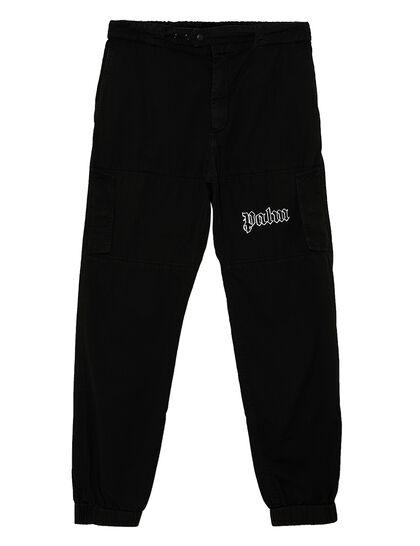 Logo Cargo Pants Black White