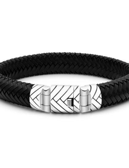 Black Leather Bracelet Box Lock