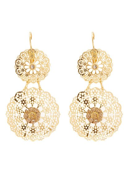 Gbx Woman Costume Jewelry Double Flocon Earrings Gold