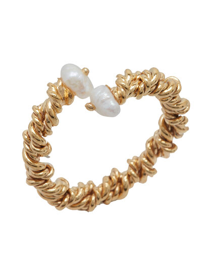 Gold Plated Twisted Ring With Mini Pearl